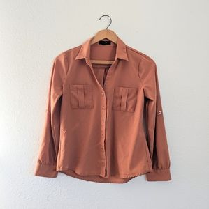 🎀Comfy Polyester Caramel Colored Button Down